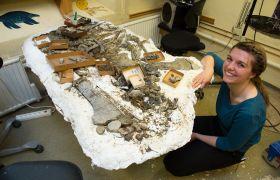 Paleontolog viser frem utgravingsfunn.