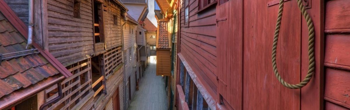 Verneverdige bygninger på Bryggen i Bergen.