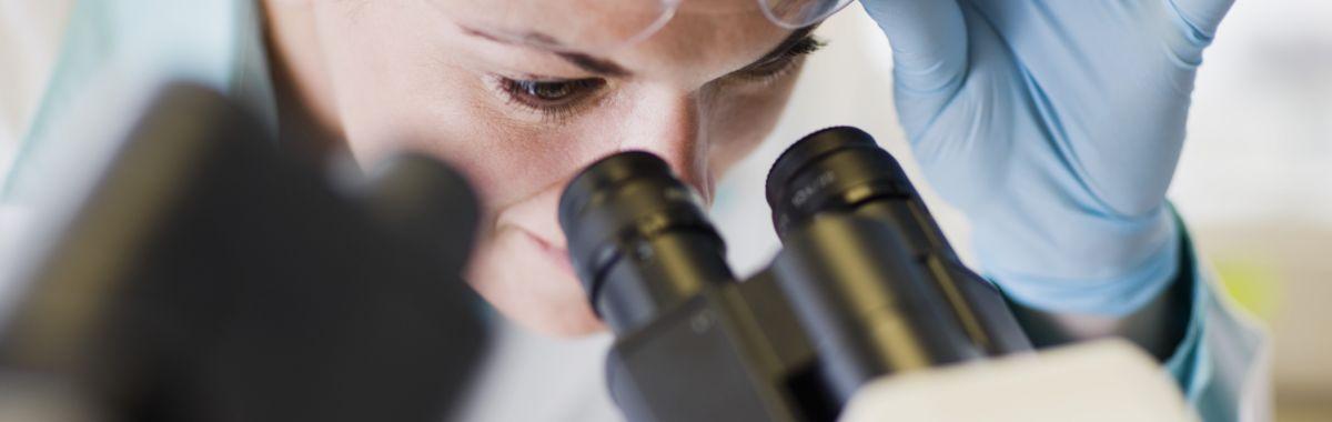 Patolog titter inn i mikroskop.