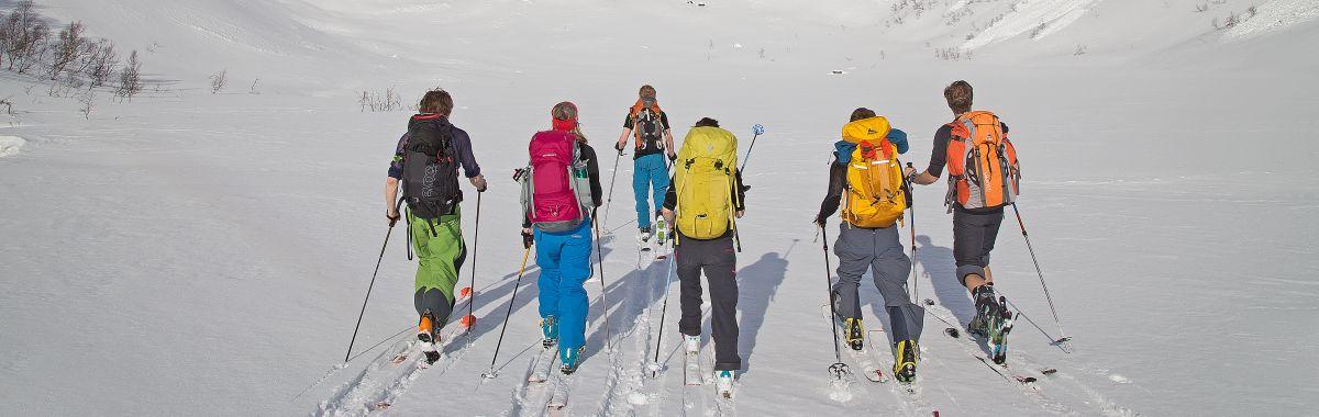 En gruppe mennesker ledes av en reiseleder på skitur i Lyngen, Troms.